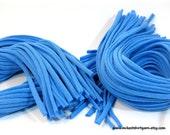 80 Strips Blue Recycled T Shirt Yarn Strips - Weaving Braiding Cord Jewelry Supply