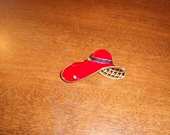 vintage pin brooch red hat society