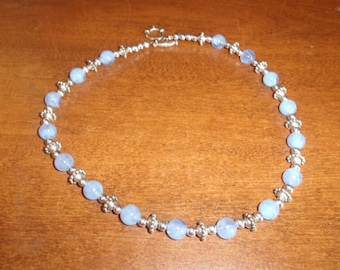 vintage necklace blue swirl beads silver