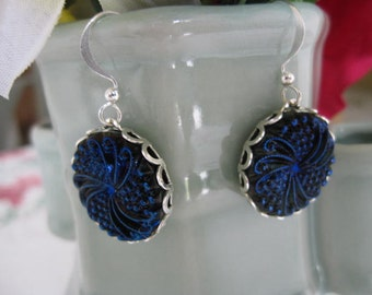 Blue Glass Earrings-Navy  with Purple Swirled Glass Earrings with Silver