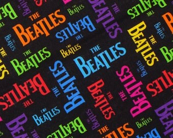 Beatles Fabric, Half Yard,  Beatles Names,  The  Beatles,  Multi Colored, The Beatles, Cotton Fabric, Fab Four