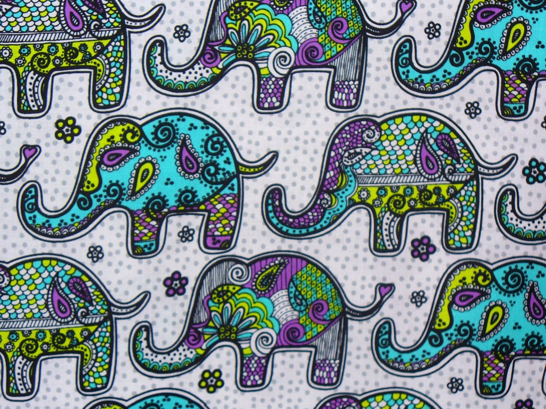 Elephant fabric mosaic elephant fabric by for Elephant fabric