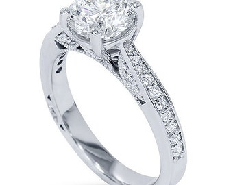 Diamond Engagement Vintage Ring SI 1.50CT Antique (1.00CT Center) Diamond Engagement Vintage Ring 14K White Gold