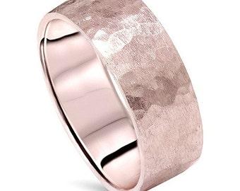 Hammered Brushed 14K Rose Gold 7MM Mens Wedding Band Ring