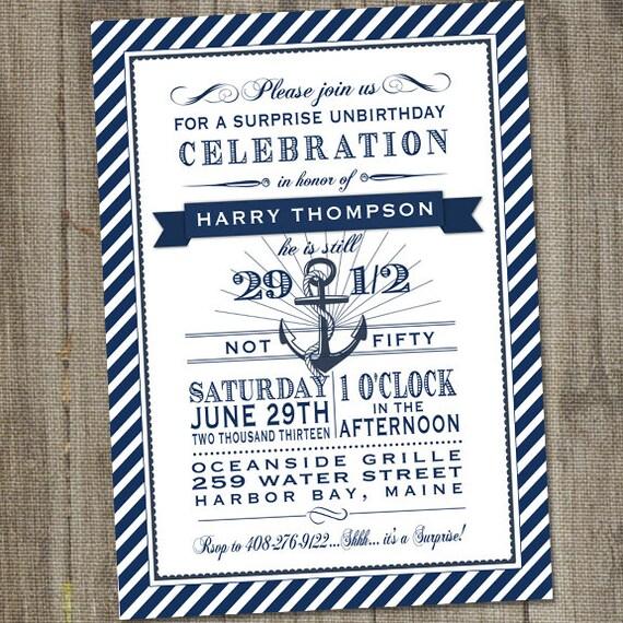 Nautical Birthday Invitation Navy and White Nautical Surprise