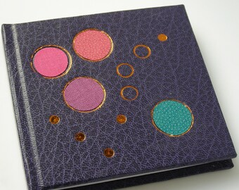 Mini purple notebook - Handmade notebook - Small notebook - Blank pages - Coloured circles - Gold tooling design - Hardback notebook