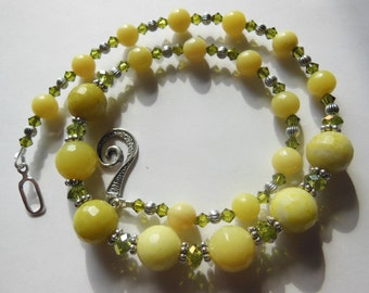 Spring is in the air  Jade on Silver Necklace  413
