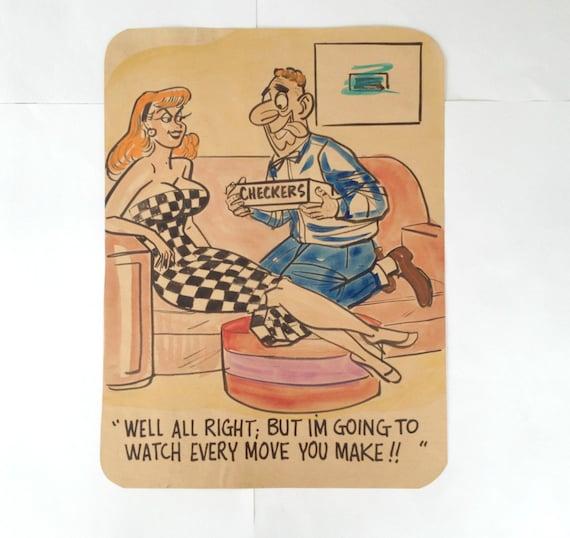50s Magazine Cartoon Art / Man Cave / 'CHECKERS