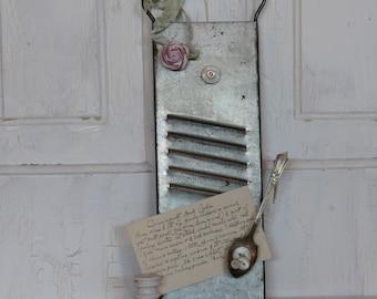 Vintage Bluffton Slaw and Vegetable Grater AND Botton Magnet, Rag Flower Magnet Recipe Holder...Photo Notes Display Board...Magnet Board...