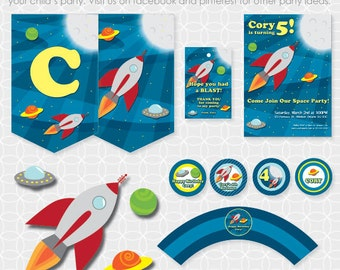 Party Printable Rocket Ship Party Theme Basic Package - Personalized Printable - space, outerspace, spaceship, planets, stars, sky