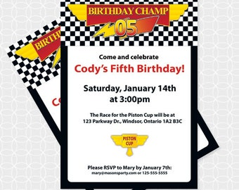 Party Printable Lightening McQueen-ish Party Invitation - Personalized Printable