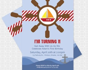 Party Printable Sailboat Party Invitation - Personalized Printable