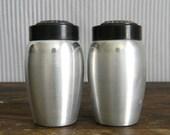 Vintage Brushed Aluminum Salt and Pepper Shakers