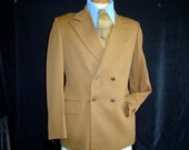 70s 40R Savile Row International Farrar's Double Breasted Men's Sport Coat Jacket Camel