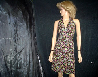 70s XL Halter Mini Dress Disco Nylon Black Pink Floral