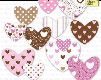 Valentine Hearts Clip Art - Pink and Brown - INSTANT DOWNLOAD - for Invites, Crafts, Scrapbooking, Collage, Cards, More