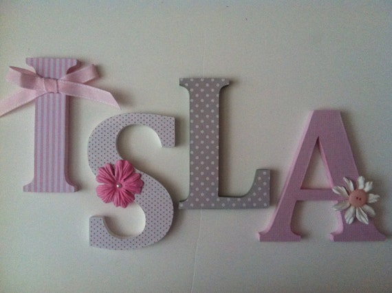 Items Similar To Wooden Letters For Nursery In Pink, White