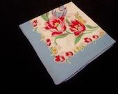 Vintage Hankie Hanky Handkerchief Floral Flowers  Tulips    3041