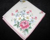 Vintage Hankie Hanky Handkerchief Floral Flowers     3047