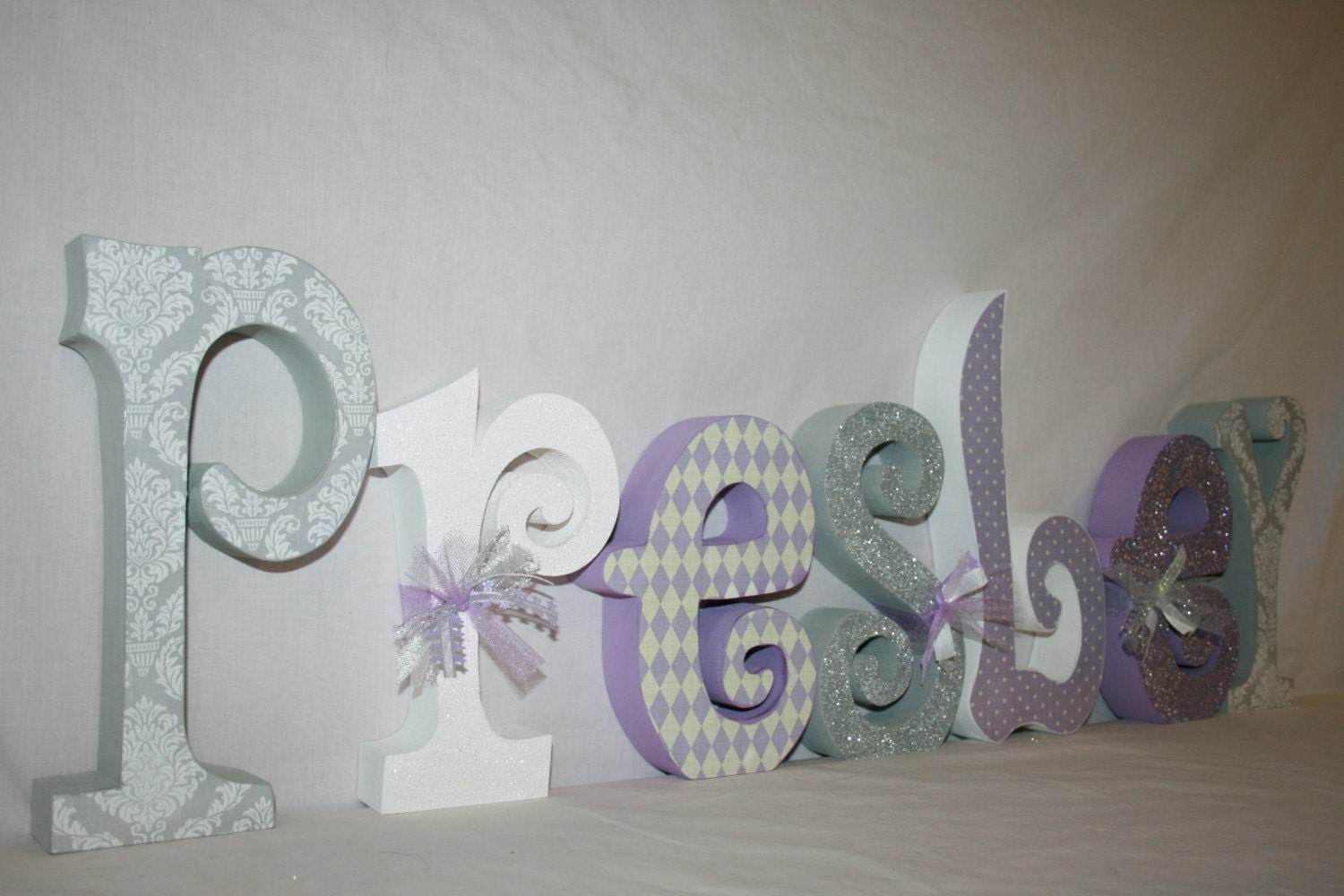 baby name letters girl wooden letters lavender and gray 7. Black Bedroom Furniture Sets. Home Design Ideas