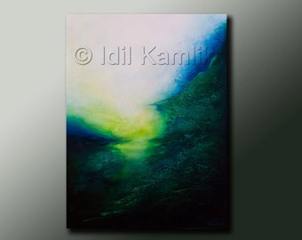 Original ABSTRACT Modern Landscape Seascape Green PAINTING Textured Contemporary Fine Art by Idil Kamlik