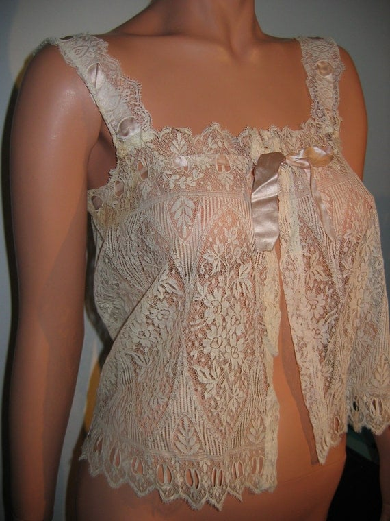 Antique Lace Corset Cover Camisole Exquisite Delicate Lace