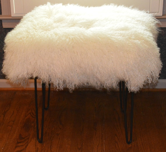 Real Natural Mongolian Lamb Fur Bench Tibet Lamb Stool By