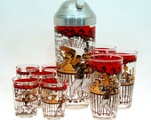 "Hazel Atlas ""Gay-Bar"" Shaker Set, 10-pc Cocktail Shaker and Glass Set, Hazel Atlas, ca. 1950s"