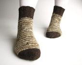 Random Striped Woolen Socks - 100% Natural Hand-spun Wool Yarn - Autumn Winter Eco Clothing