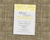 PRINTABLE INVITATION Here Comes Trouble Baby Shower Invitation - Modern Yellow Floral and Grey Chevron Design - Memorable Moments Studio