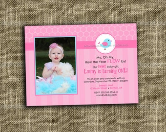 PRINTABLE INVITATIONS Tweet Bird Birthday Party - 1st Birthday - Pink and Blue - Memorable Moments Studio