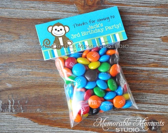 PRINTABLE CANDY BAG labels Cute Little Monkey Collection - Blue and Green - Memorable Moments Studio