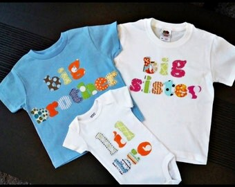 Big bother t shirt big sister t shirt and a lil bro or lil sis onesie