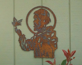 St. Francis Rusty Metal Garden Art Pope