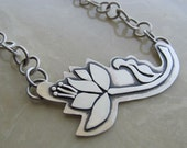 Sterling silver metalwork flower necklace - artisan metalsmith jewelry, hand fabricated, lotus style, chunky handmade chain