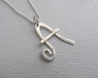 Initial necklace, hand crafted letter in sterling silver - Handmade original metalwork, one of a kind, hand forged, metalsmith jewelry