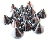 250 BULK LOT Small Dark Gunmetal Spike Beads - 8mm - Great For Studding Clothes and Shoes