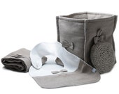 Baby gift set Linen baby bib, storage bin, linen towel and washcloth by Lovely Home Idea