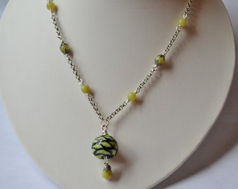 Green & Black Lampwork Bead, Olive Serpentine, Silver Necklace