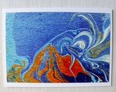 "Note Card, Blank Inside, Abstract Art Card: ""Volcano"""