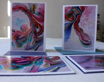"""Blank Note Cards, Set of 6 Abstract Art Cards, """"Streams of Color"""" Series"""