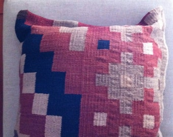 Woven Rug Pillow Upcycled Wool