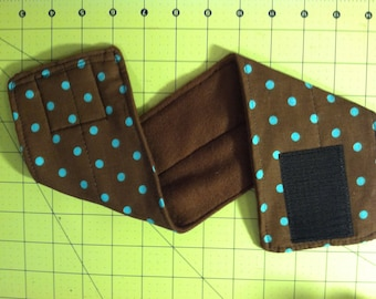 All sizes -- Male dog belly band -- Brown with aqua dots print -- BASIC or COMFORT FIT -- cat band
