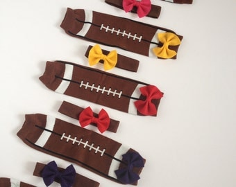 Football Baby Leg Warmers with Bow and Matching Headband Pick Your Team Color