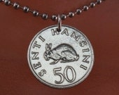TANZANIA necklace . rabbit jewelry. lapin. easter. Africa.chain. senti sterling silver.1966 No.001445