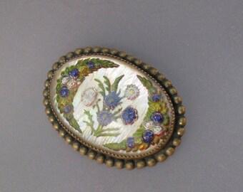 VICTORIAN INTAGLIO BROOCH. reverse painted.  flower jewelry.  flower basket brooch. goofus glass. gardener gift.  . No.001353