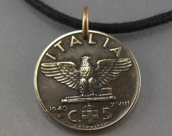 ITALIAN COIN necklace. ITALY coin pendant. bird coin. spread eagle coin. animal coin. 1940 Italia charm. choose year. No.001306