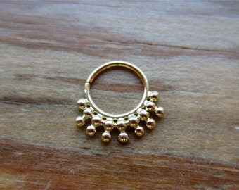 Om  : Indian Gold Septum Ring .. 14k Gold Nose Ring .. Tribal Septum .. Septum Jewelry .. Aprilsblissed ..  Gold Nose hoop