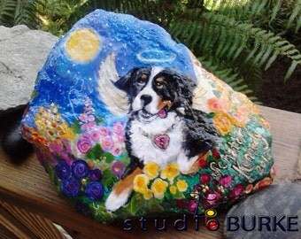 Large Pet Rock Custom Painted Memorial from your photo.