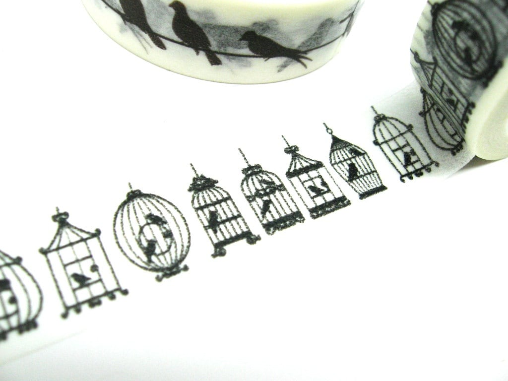 Black And White Bird Cage Washi Tape
